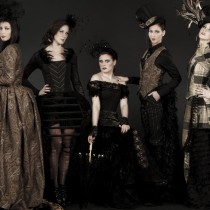 A group photo of 5 women in Gothic period dress.