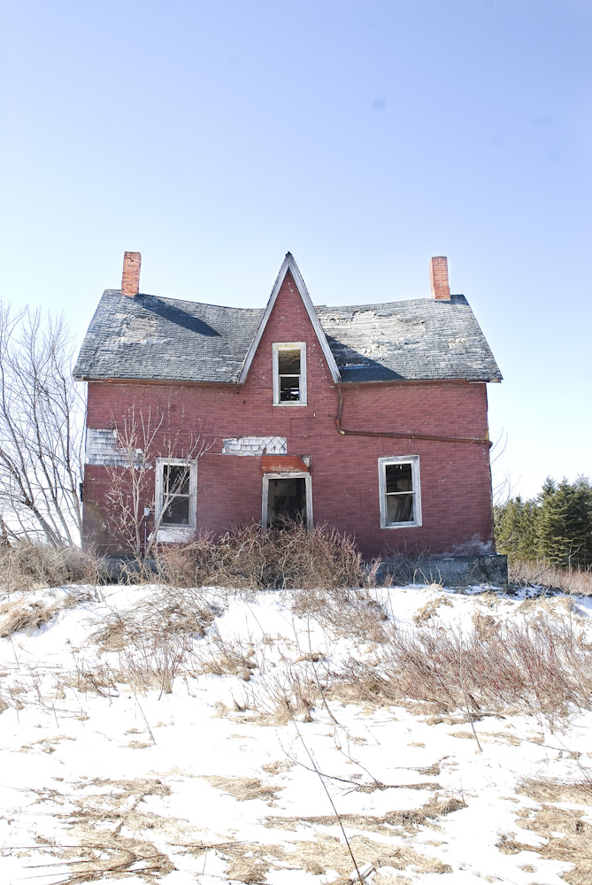 A red abandoned house.