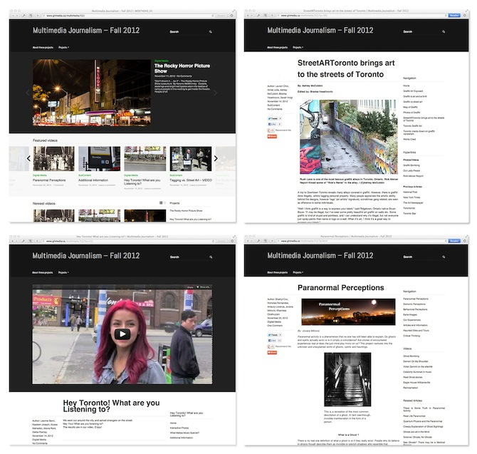 Multimedia Journalism Fall 2012 Screen Grabs
